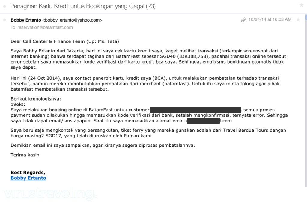 Booking Online BatamFast Payment Error