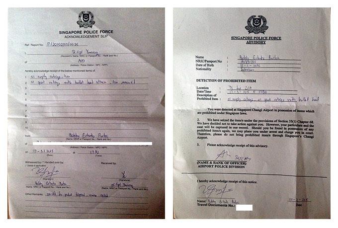 Surat Keterangan Polisi Bandara Changi