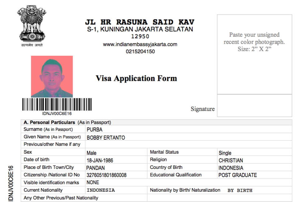 Form Online Permohonan Visa ke India