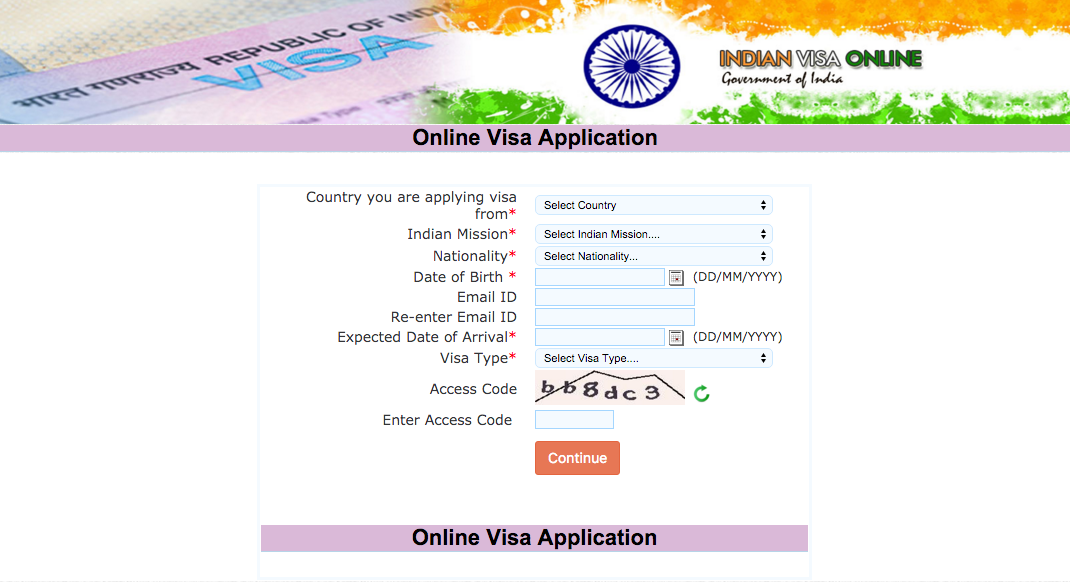 New Application Visa India