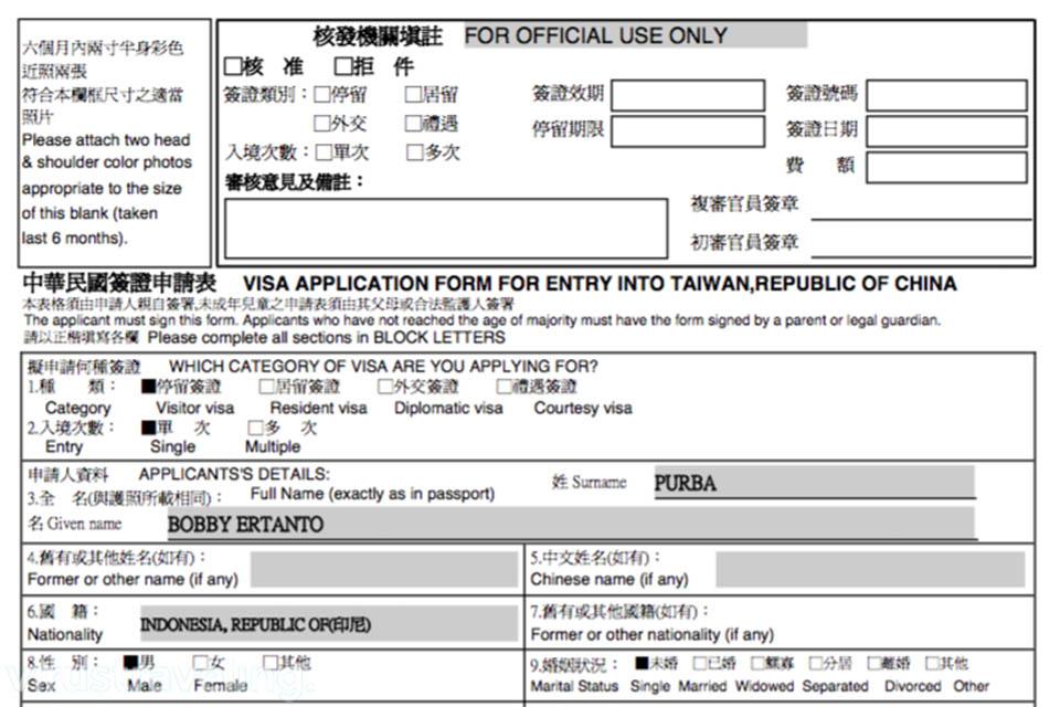 Contoh Formulir Visa Taiwan Virustraveling