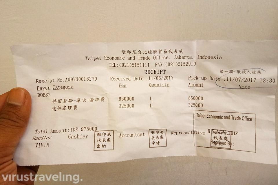 Invoice Biaya Visa Taiwan