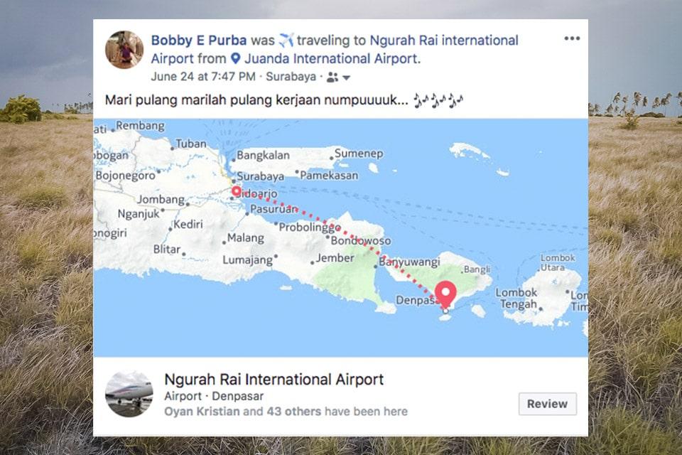 posting facebook saat ketinggalan pesawat