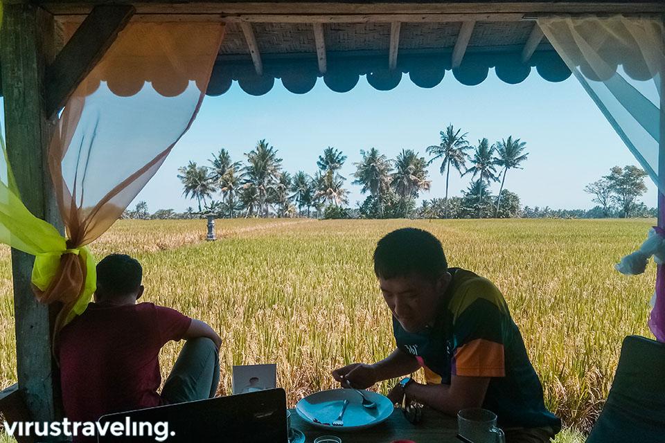 Makan siang di Kedai D'Sawah dengan pemandangan sawah