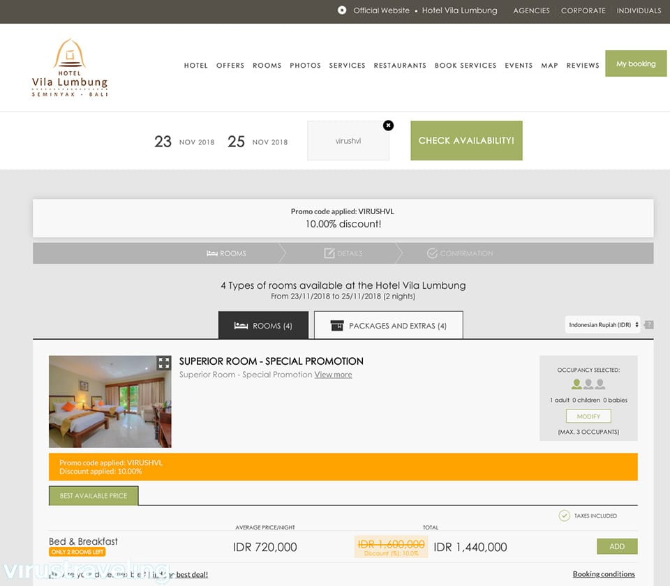Direct Booking Hotel Vila Lumbung