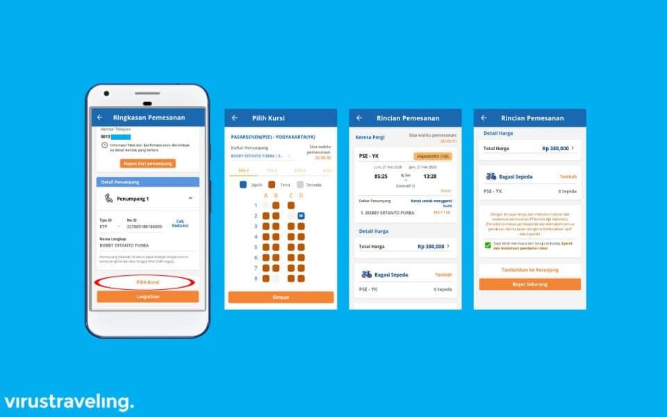 Memilih kursi kereta di aplikasi KAI Access